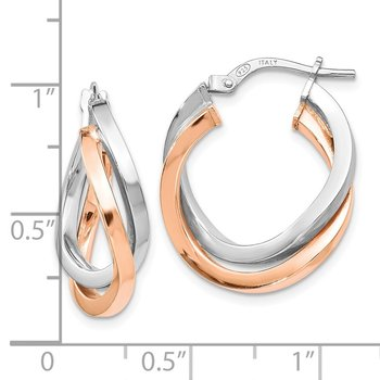 Leslie's Sterling Silver Rose-tone Polished Hoop Earring