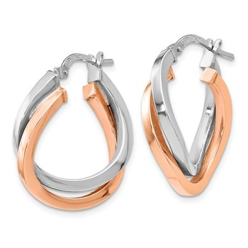 Leslie's Sterling Silver Rose-tone Polished Hoop Earrings