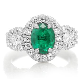 Oval Cut Emerald Side Stone Ring