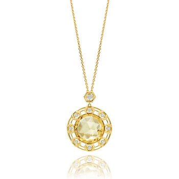 "Honeybee ""B"" Faceted Citrine Large Circular Medallion P466Y"