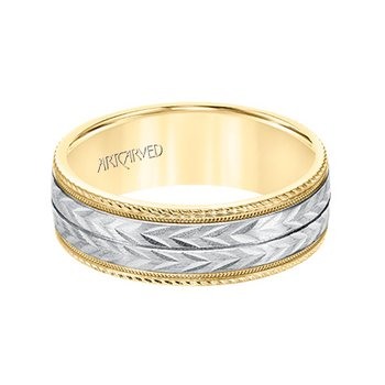 14K Two-Tone Engraved Comfort Fit Wedding Band