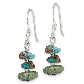 Sterling Silver Turquoise Chip Dangle Earrings