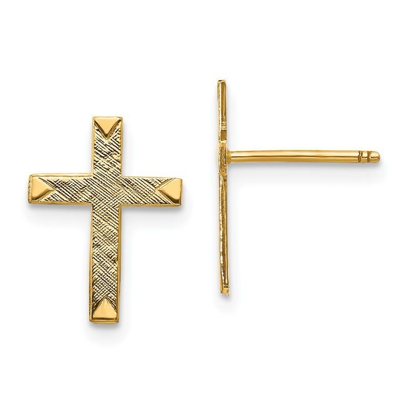 Quality Gold 14k Brushed Finish Cross Earrings