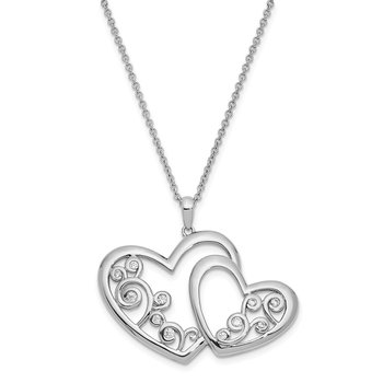 Sterling Silver CZ Thank You Daughter 18in. Necklace