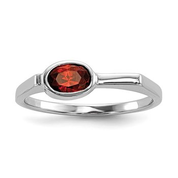 Sterling Silver Rhodium-plated Red CZ Ring