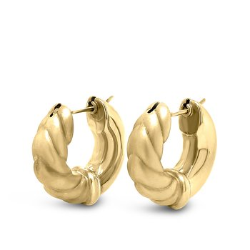 14K Yellow Gold Vintage Brushed Hoop Earrings