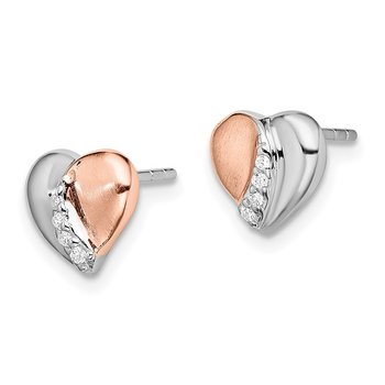 Sterling Silver Rhodium/Rose Gold-plated CZ Heart Earrings