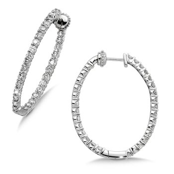 Pave set Diamond Oval Reflection Hoops in 14k White Gold (3ct. tw.) JK/I1