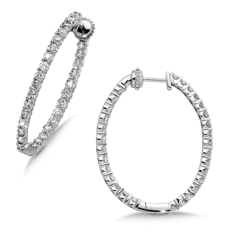 SDC Creations Pave set Diamond Oval Reflection Hoops in 14k White Gold (3ct. tw.) JK/I1