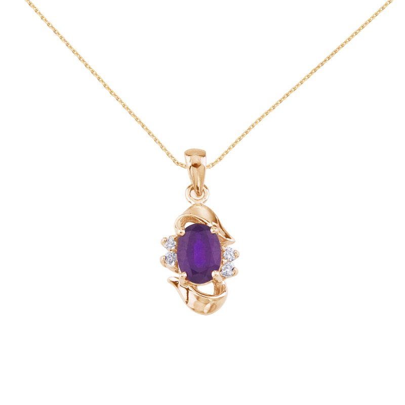 Color Merchants 14k Yellow Gold Oval Amethyst And Diamond Pendant