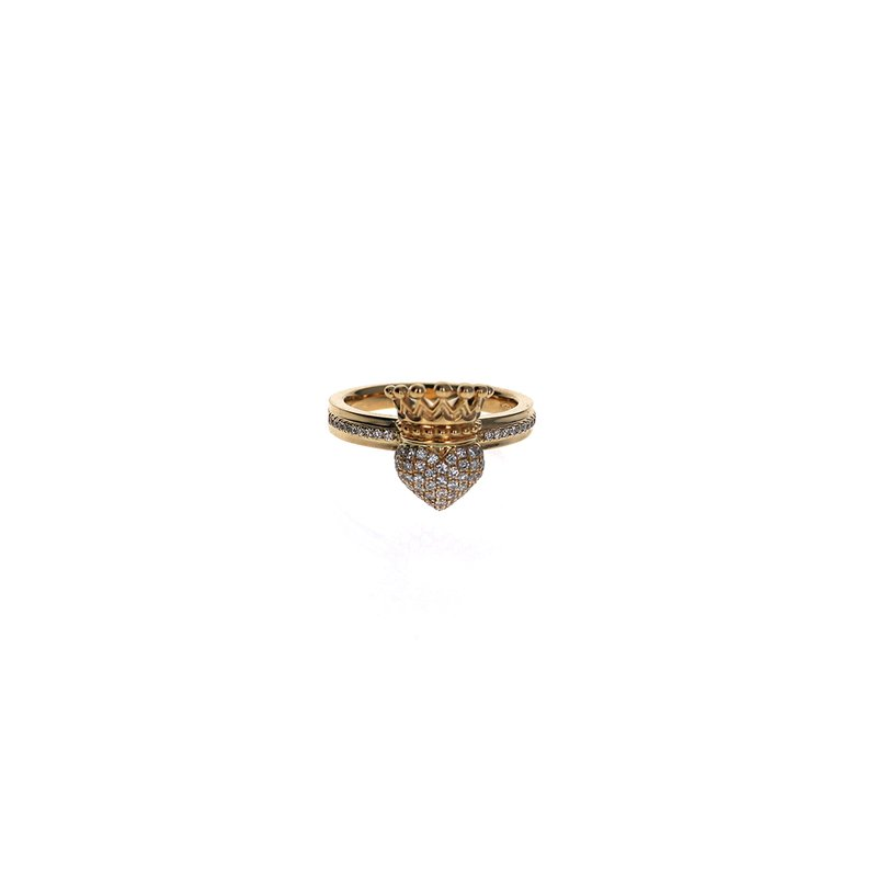 King Baby 18K Crowned Heart With Diamond Pave And Single Row Pave Band