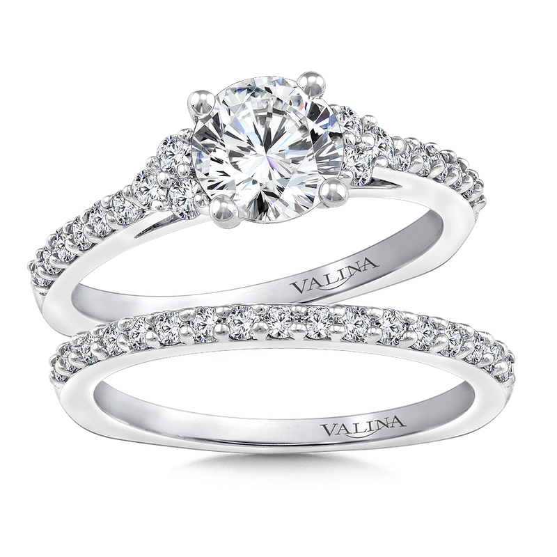 Valina 3-Stone Diamond Engagement Ring Mounting in 14K White Gold (.31 ct. tw.)