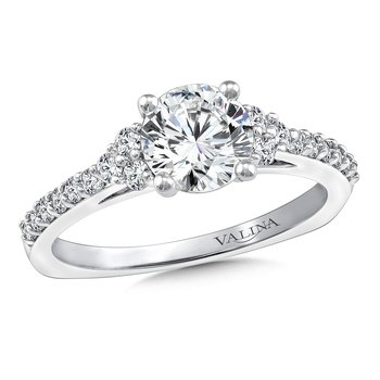 3-Stone Diamond Engagement Ring Mounting in 14K White Gold (.31 ct. tw.)