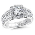Valina Bridals Halo Engagement Ring Mounting in 14K White Gold (1.23 ct. tw.)