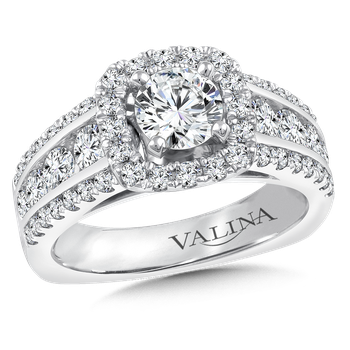 Halo Engagement Ring Mounting in 14K White Gold (1.23 ct. tw.)