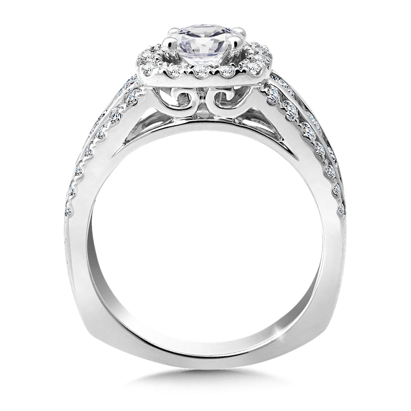 Valina Halo Engagement Ring Mounting in 14K White Gold (1.23 ct. tw.)