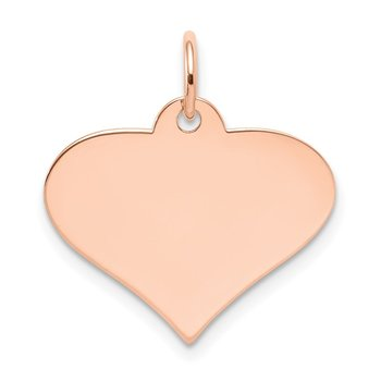 14k Rose Gold Plain .013 Gauge Engraveable Heart Disc Charm