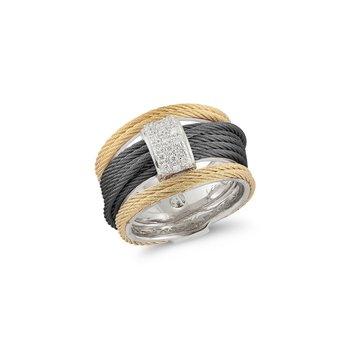 Black & Yellow Cable Simple Stack Ring with 18kt White Gold & Diamonds
