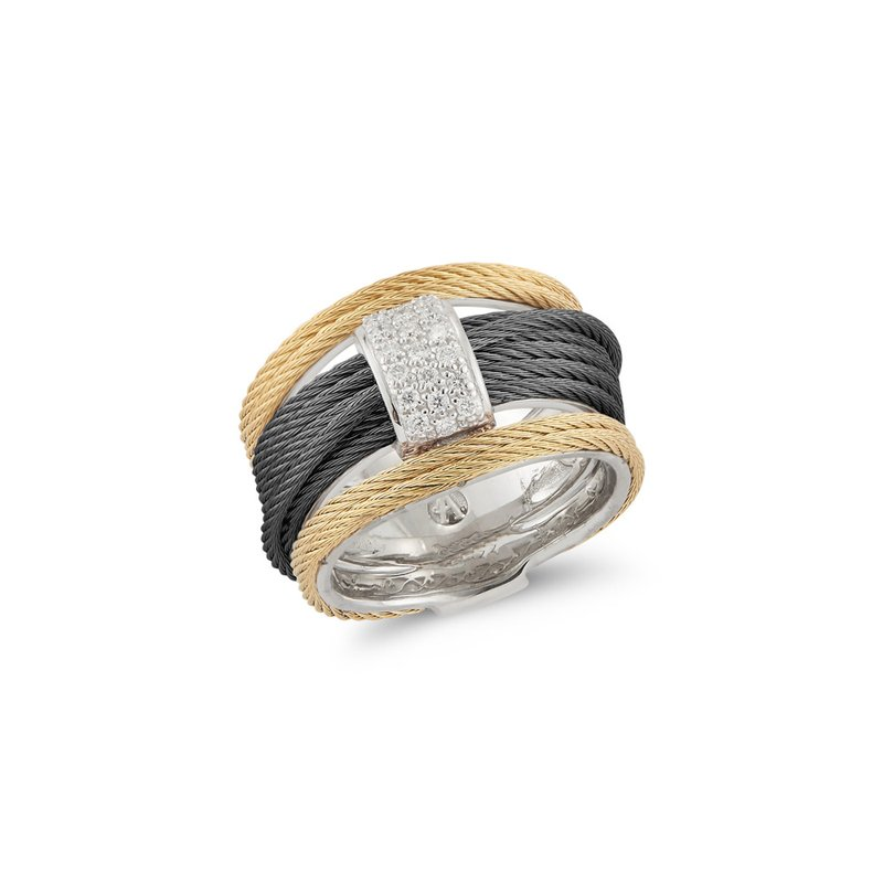 ALOR Black & Yellow Cable Simple Stack Ring with 18kt White Gold & Diamonds