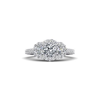 Three Stone Halo Design Diamond Engagement Ring