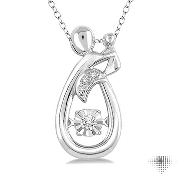Silver Emotion Diamond Mom & Child Pendant