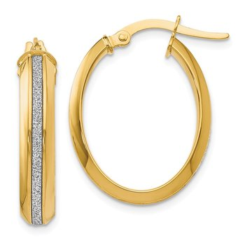 Leslie's 14k Polished Glimmer Infused Oval Hoop Earrings