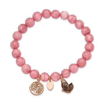 Stainless Steel Antique and Polish Rose IP Pink Dyed Jade Stretch Bracelet