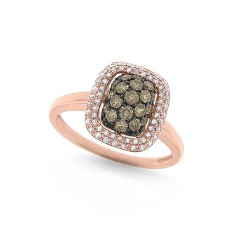 Champagne and White Diamond Cushion Shape Ring in 14K Rose Gold with 79 Diamonds Weighing  .56ct tw