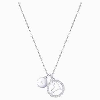 Lena New York Pendant, White, Rhodium plating