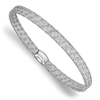 Leslie's 14K White Gold Fancy Stretch Bangle Bracelet