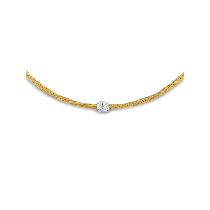 ALOR Yellow Cable Helix Necklace with 18kt White & Diamonds