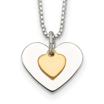 Sterling Silver w/Vermeil Polished Fancy Heart Necklace