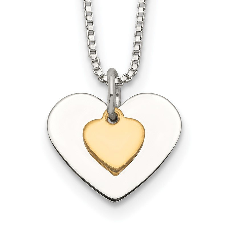 Quality Gold Sterling Silver w/Vermeil Polished Fancy Heart Necklace