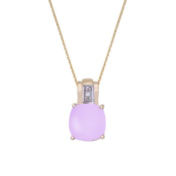 14k Yellow Gold Oval Frosted Cushion Cut Amethyst and Diamond Pendant