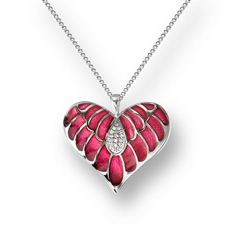 Sterling Silver Heart Necklace-Pink. White Sapphires