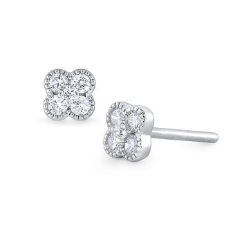 14K Gold and Diamond Flower Earring