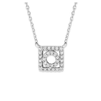 Diamond Geometric Necklace in 14K White Gold with 31 Diamonds Weighing .10 ct tw
