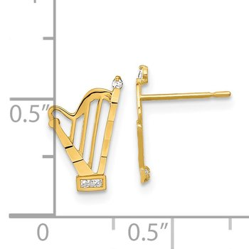 14k Madi K CZ D/C Harp Post Earrings