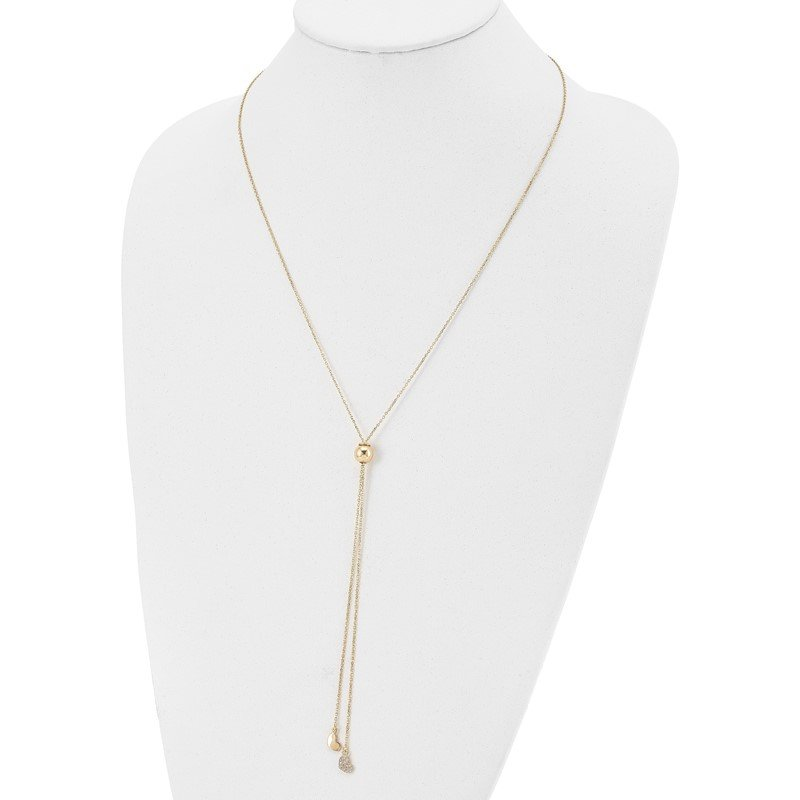 Leslie's Leslie's Sterling Silver Gold-plated CZ Adj. Necklace