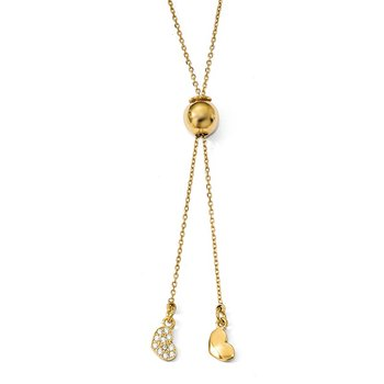 Leslie's Sterling Silver Gold-plated CZ Adj. Necklace