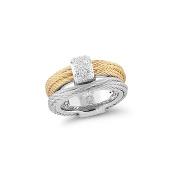 Yellow & Grey Cable Small Simple Stack Ring with 18kt White Gold & Diamonds
