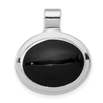 Sterling Silver Rhodium Plated Onyx Pendant