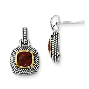 Sterling Silver w/Gold-tone Flash Gold-plated Garnet Earrings