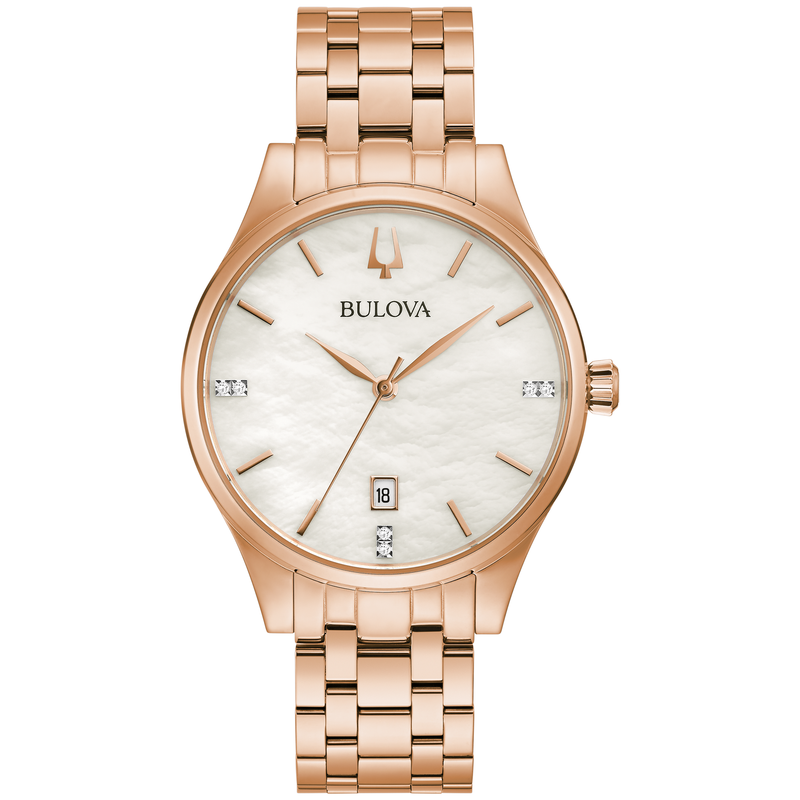 Bulova Ladies' Rose Gold-Tone Bracelet Watch with Diamond Accents