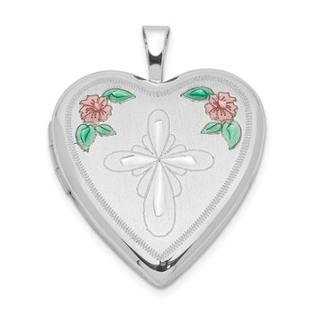 Sterling Silver Rhodium-plated 20mm Enameled Flower and Cross Heart Locket