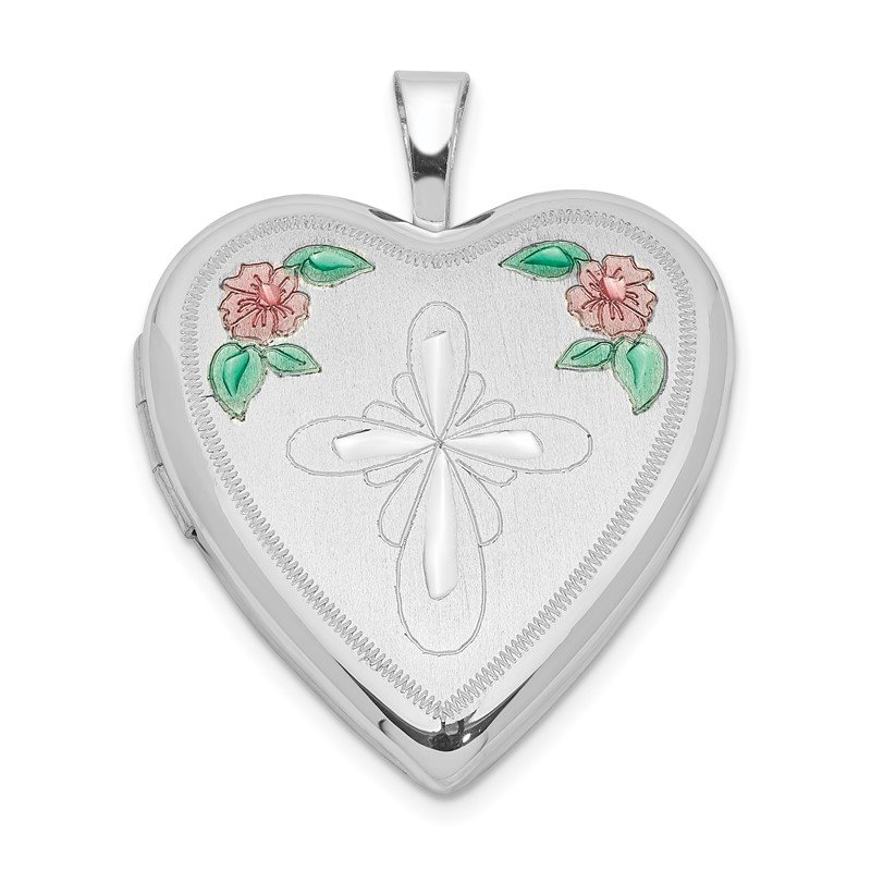 Quality Gold Sterling Silver Rhodium-plated 20mm Enameled Flower and Cross Heart Locket
