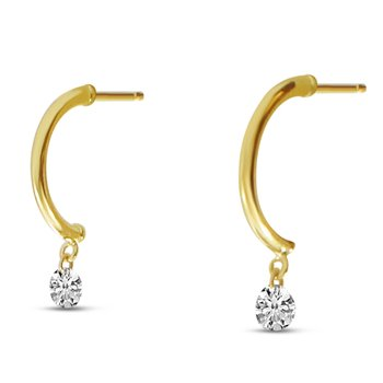 14K Yellow Gold 0.30 Half Huggie Diamond Earrings