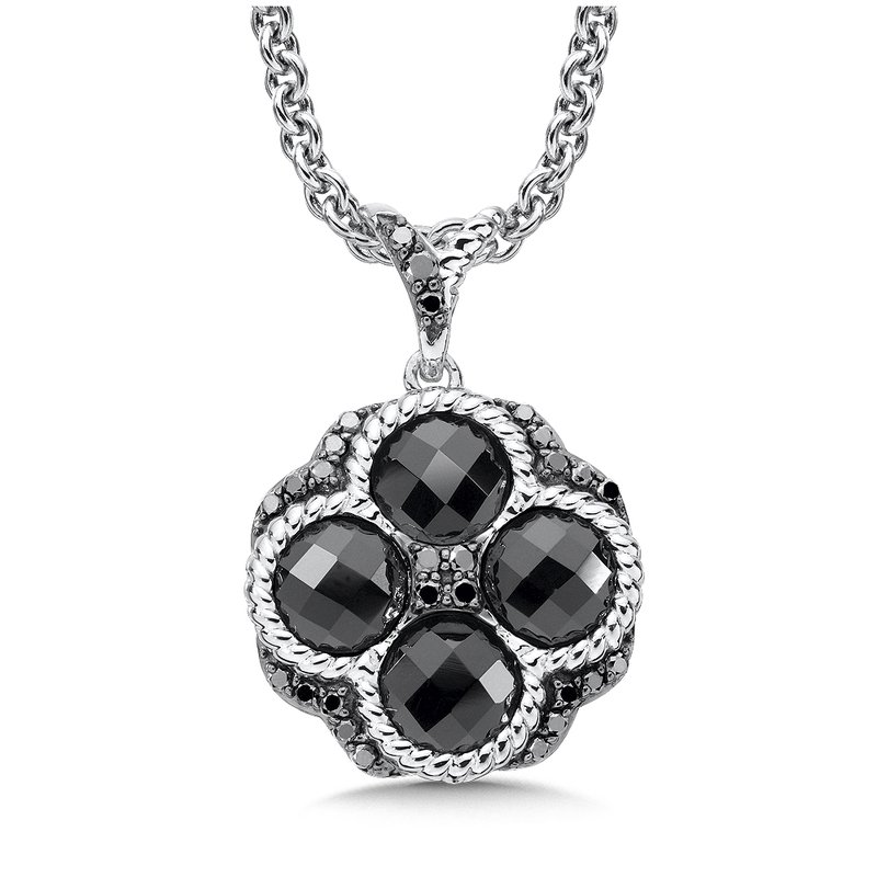 Colore Sg Sterling Silver Black Diamond & Onyx Essentials Pendant