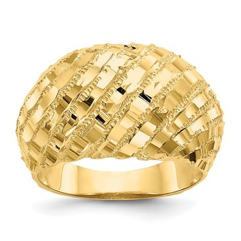 14k Diamond-Cut Dome Ring
