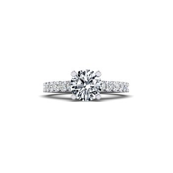 Straight Cathedral Style Diamond Engagement Ring